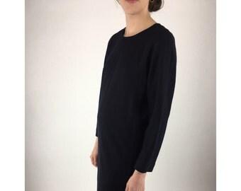 Vintage Dress, All Wool Three Button, Knee Length Long Sleeve Wool, Winter Minimalist Shift Dress || Sz S