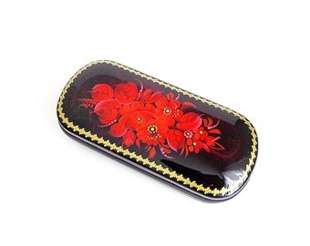 Red flowers painted glasses case, Floral eyeglass case, Spectacle-case hard