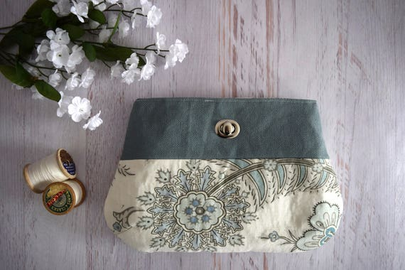 Blue and White Floral Clutch Made with Recycled Fabric. Large Floral Handmade Clutch. Eco Friendly Bag with Turn Lock Close and Pocket