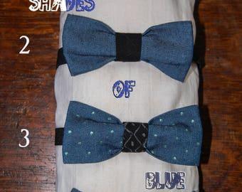 blue bowtie hand painted details & burlap bowtie
