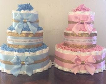 diaper cakebaby showerpink and gold baby showerpink and gold diaper