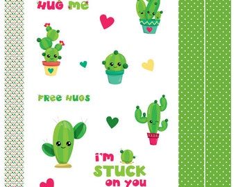 Cute Cactus Planner Stickers, ECLP, Kikki.K, Filofax, Happy Planner etc.