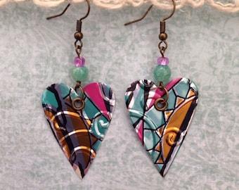 Up-Cycled Arizona Iced Tea Can Earrings, Heart Shaped Earrings, recycled can earrings