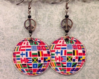 Peace Sign, Globe Earrings, Up-Cycled Cardboard Earth Day Earrings, decoupage, World Peace