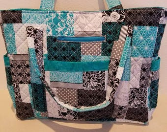 Sale: Handmade Quilted Tote Quilted Purse Quilted Bag Turquoise/Black/White