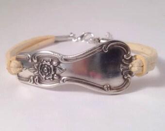 Leather Spoon Bracelet Handmade Silverware Jewelry Silver Spoon
