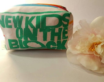 New Kids on the Block Cosmetic Bag Made From Vintage Sheets