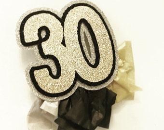 30th birthday button; Birthday Button;Tissue Paper Button; Glitter Button