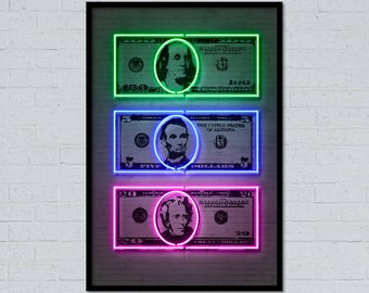 Money art dollar art dollar sign dollar print money print neon art neon sign street art stencil art currency art home decor office decor