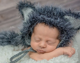 Newborn Baby Hat - Woodland Themed Nursery - Baby Woodland Outfit - Baby Wolf Costume - Newborn Photo Prop - Woodland Creatures Baby Shower