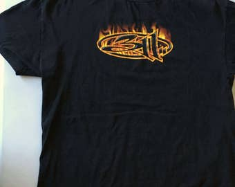 311 Three Eleven T Shirt Flames Black Size Large Tennessee River