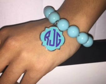 Beaded Bracelet with Monogrammed Tag