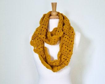 Mustard Infinity Scarf for Women - Yellow Crochet Infinity Scarf - Gold Infinity Scarf - Ready to Ship - Vegan Friendly