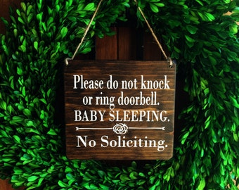 Baby Sleeping Sign | 7x8 | No Soliciting | Sleeping Baby Sign | Do Not Disturb Sign | Do Not Ring Doorbell Sign | Door Signs | Door Hangers
