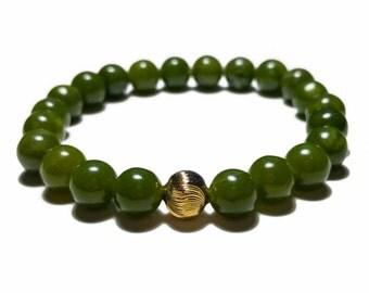 Jade Bracelet, Stretch Bracelet, Gold Filled