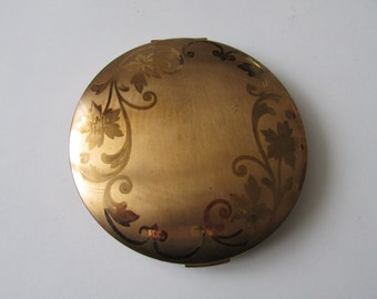 Vintage Elgin American Compact Large Goldtone Gold Tone Compact
