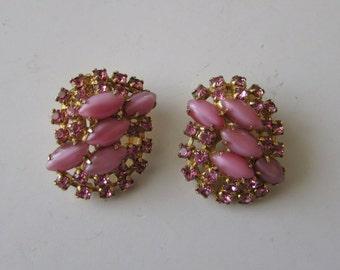 Vintage Pink Rhinestone Clip Earrings Spring Bridal Wedding