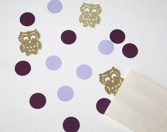 Purple Circle and Gold Glitter Owl Confetti. Purple and Gold. Owl Party. Owl Party Decorations. Confetti. First Birthday Party. 80 CT