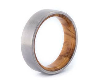 Olive Wood With Titanium Ring: Resin Coat. Wedding And Engagement. For Men And Women. Custom Made.