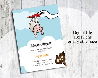 Funny baby shower invitation, digital file