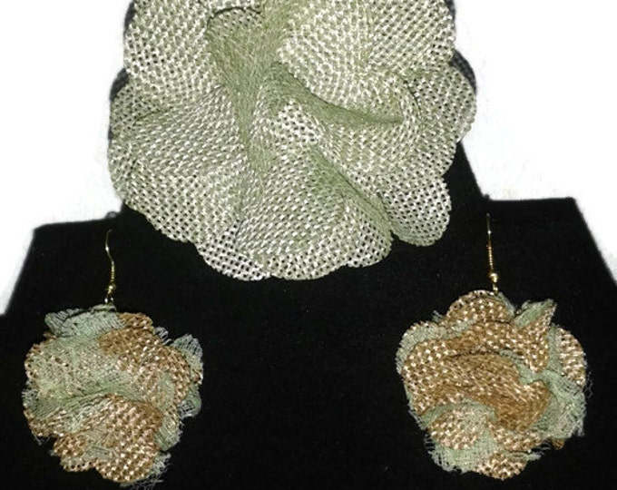 Mint Burlap Lace Flower Pin and Earring Set, Burlap and Lace Earrings, Statement Piece, Gift For Her, Beautiful Flower Set, Chic, Fun, Bold.