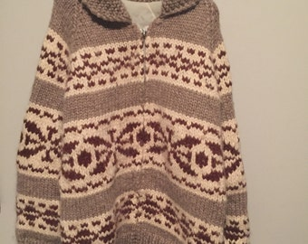 Vintage handknit cowichan sweater wool excellent shape lined heavy!