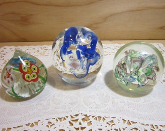 Collection of Three Vintage Hand Blown Murano-Style Glass  Paperweights