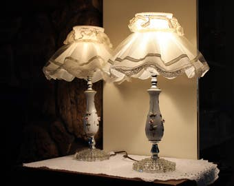 Vintage Boudoir Lamp Set Produced By Natalie Lamp and Shade Co Pink Rose Buds, White Porcelain, Glass Bubble Bases With Ruffled Shades 1960