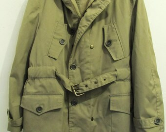 25% 0FF SalE!!A Men's Vintage 70's,HOODED Rain or Shine KHAKI Colored Poplin Coat By LONNIGAN.M(40)