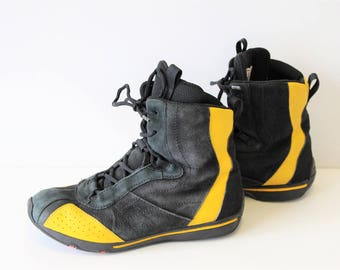 Black Boxing Boots ECCO Black Yellow Leather Lace up Sports boots Black Suede Box Ankle Boots Trail Deadstock Wrestling shoes EU 39 US 8-8,5