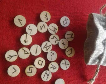 Celtic runes for divination complete jute bag and leaflet with the name of each rune