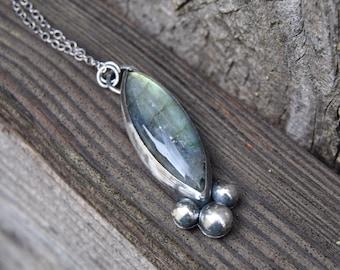 Labradorite Necklace, Labradorite Pendant Necklace, Blue Flash Labradorite, Statement Necklace, Sterling Silver Necklace