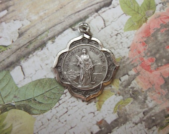 Saint Philomena Vintage Catholic Pendant Medal silver finish