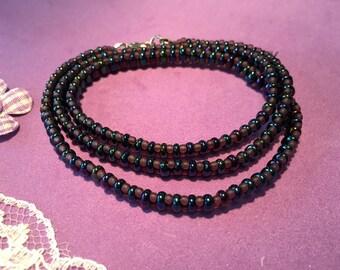 Wrap Around Bracelet, Boho Style Bracelet, Iris Blue Bead Wrap Bracelet