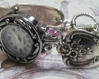 Spoon watch, spoon bracelet watch, vintage Sterling plated, silverware watch, Spoon Handle Watch