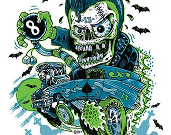 Graveyard, hearse, hotrod, monster, freak, mutant, Jeff Gaither, 8.5 x 11