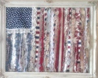 American flag decor, patriotic decor, country chic, rag flag, Boho gypsy, Americana wall art, 4th of July, red white blue, stars n stripes