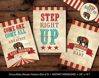 Circus Baby Shower Posters, Circus Poster Set, Circus Baby Shower Printables