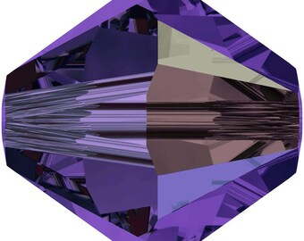 Swarovski Crystal Bicone Beads 5328 -  3mm 4mm 6mm 8mm - Purple Velvet AB