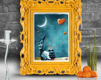 Portrait of a goblin holding a bunch of hearts.  Surreal fine art print   FRAMED