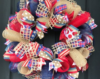 Patriotic wreath - Memorial Day wreath - 4th of July wreath -patriotic decor - burlap patriotic wreath - summer burlap wreath - summer door
