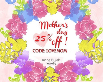 Jewelry for Her, Discount 25 % off, Mother's Day, Spring Sale, Spring Coupon code, Discount, Spring Gift
