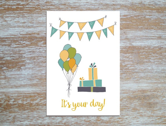 Happy Birthday Printable Folded Card Instant Download 5x7