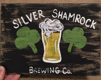"Killer Crafts ~ Silver Shamrock Brewing Co Wooden Plaque ~ 9"" X 6.5"""