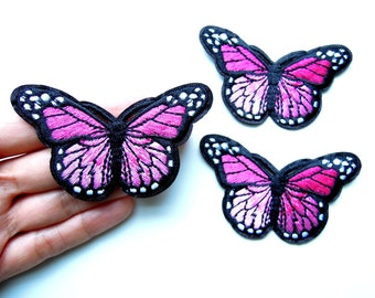 Pink BUTTERFLY Iron on patch - Pink butterfly applique - Butterfly iron on patch - Iron on Applique - Pink butterflies - Iron on patches