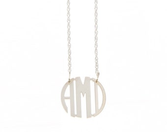 Small Sterling Silver Circle Monogram Necklace