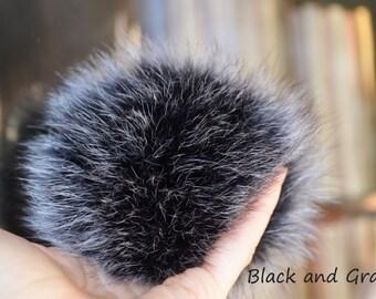 Fur pom pom Arctic fox pom pom Black and gray pompom Medium Large XLarge pom pom Real fur pom pom for knitted hat Fur accessories