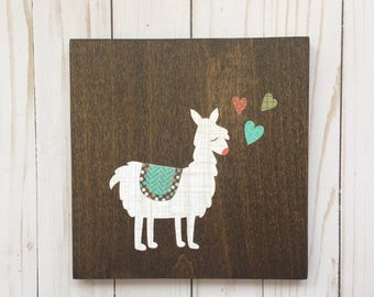 Llama Art, Llama Nursery, Llama Gifts, Wood Canvas, Decoupage Art, Trendy Kids Art
