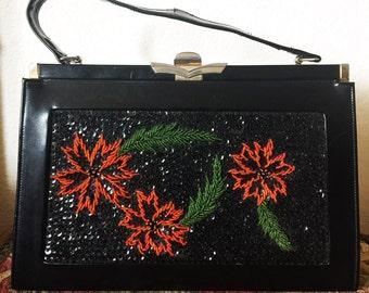 Original Vintage 50's/60's Beaded Poinsettias Leather Black Purse, Vintage Christmas Hand Bag, Vintage Poinsettias Hand Bag, Beaded Purse