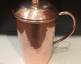 Hammered Copper Pitcher with lid - 32oz, 100% pure copper